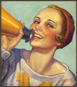painting of cheerleader with megaphone